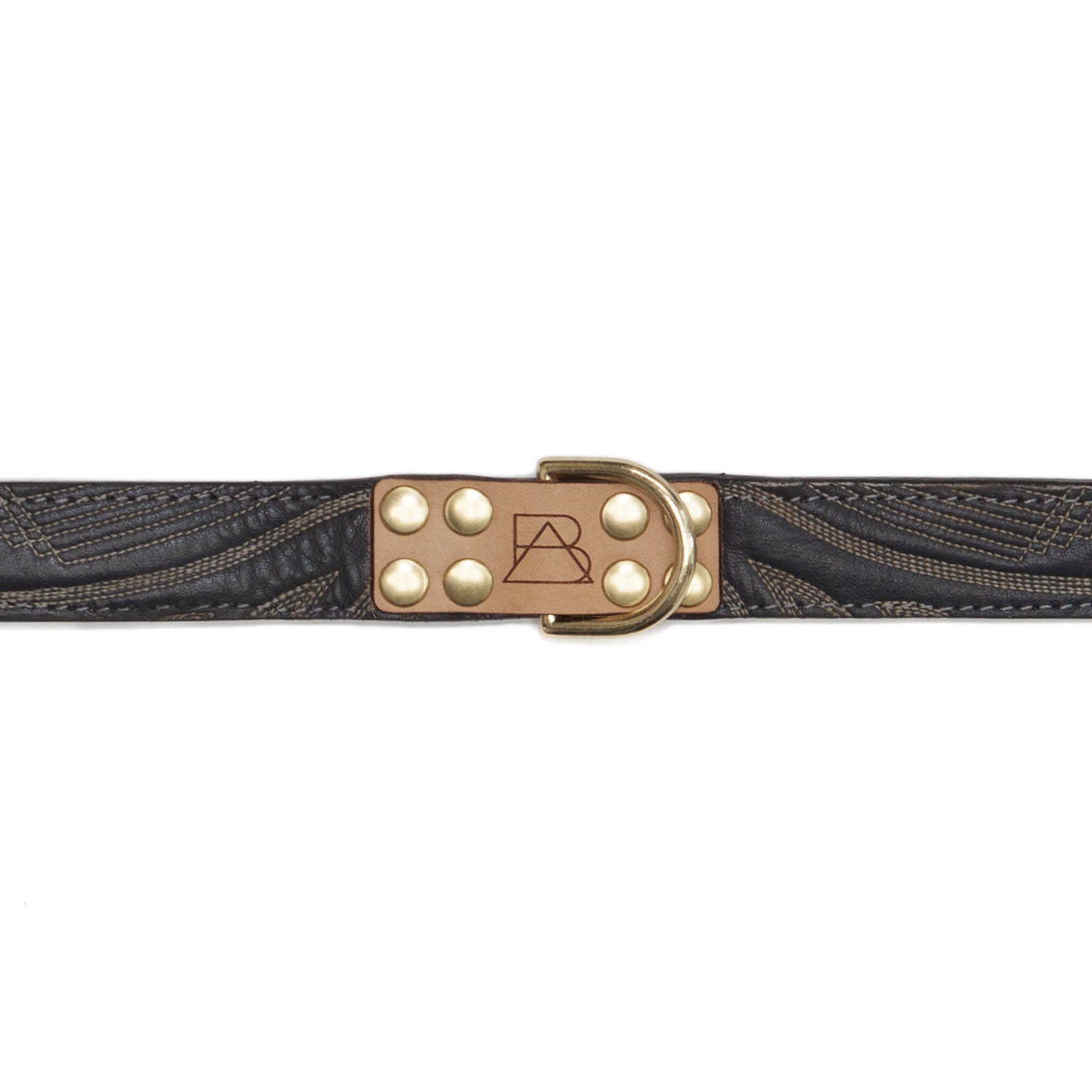 Gray Dog Collar with Navy Leather + Tan/White Stitching (tag)
