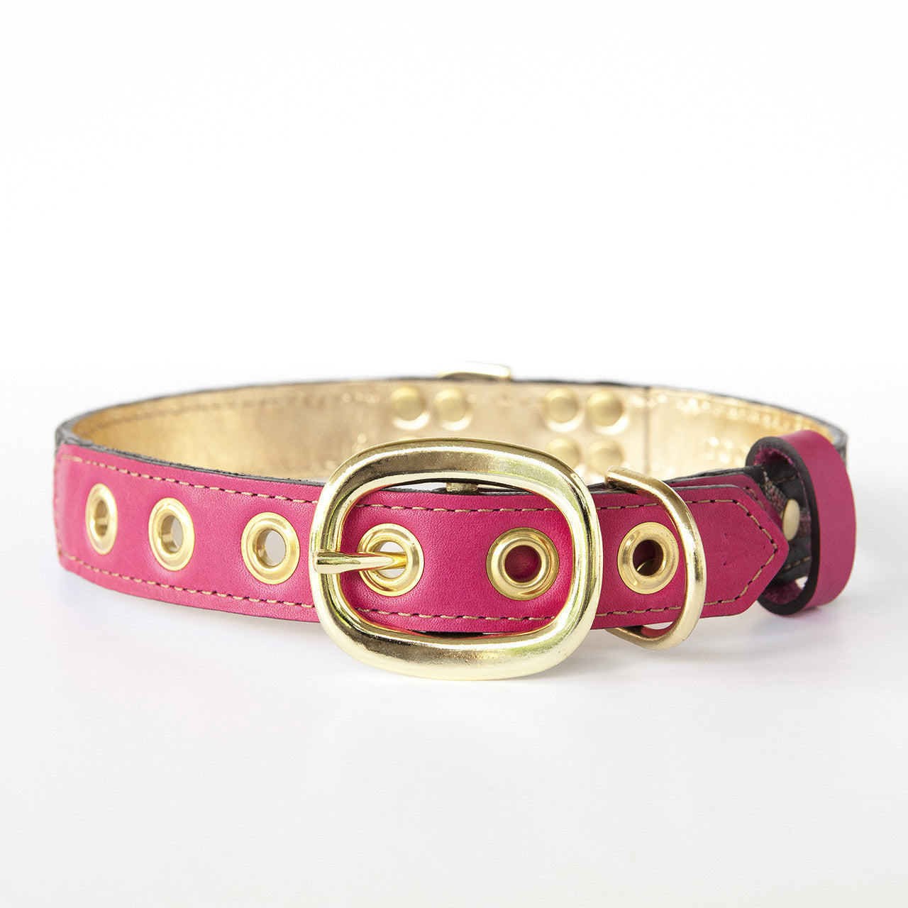 Hot Pink Dog Collar with Black Leather + Bright Pink Stitching (back view)