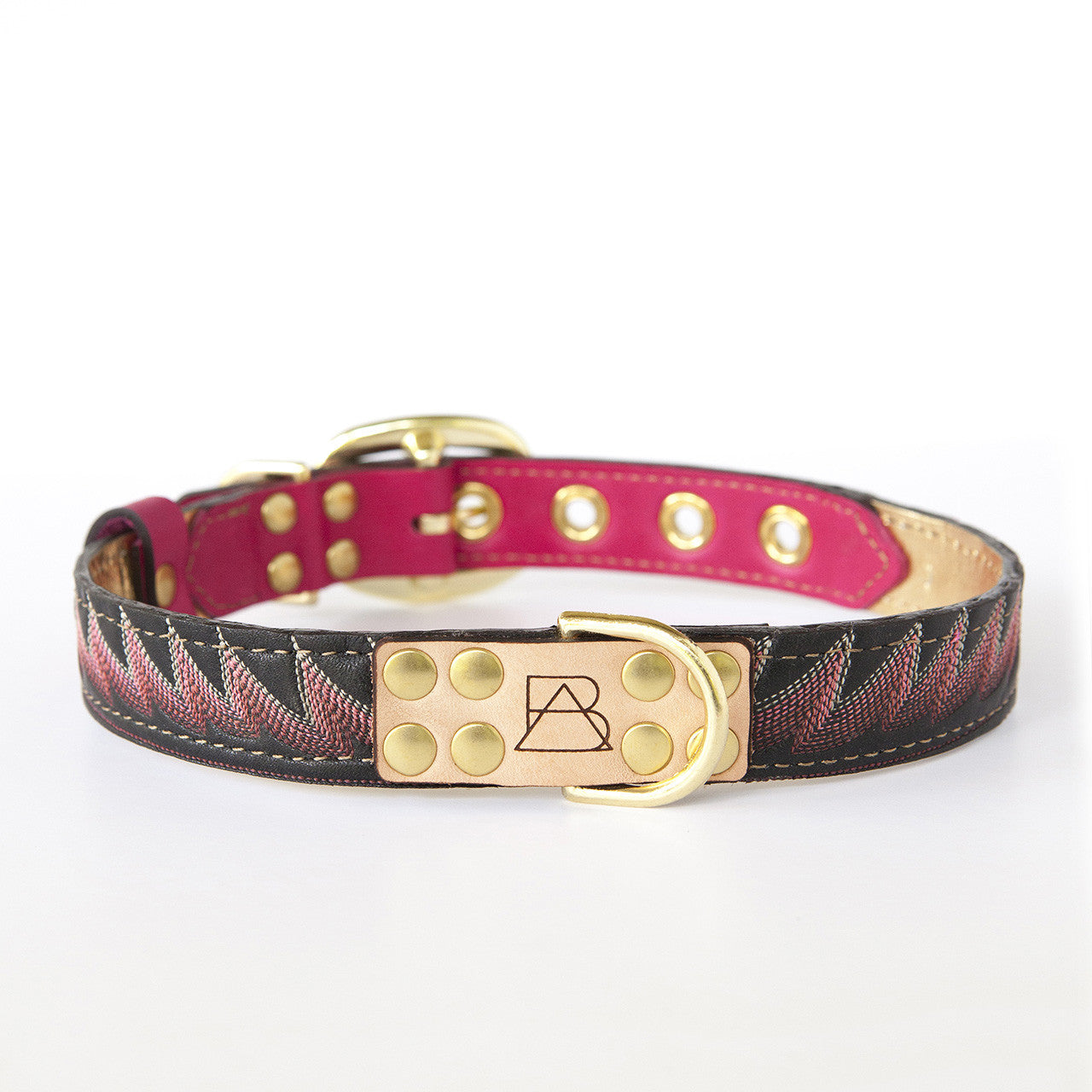 Hot Pink Dog Collar with Black Leather + Bright Pink Stitching (front view)
