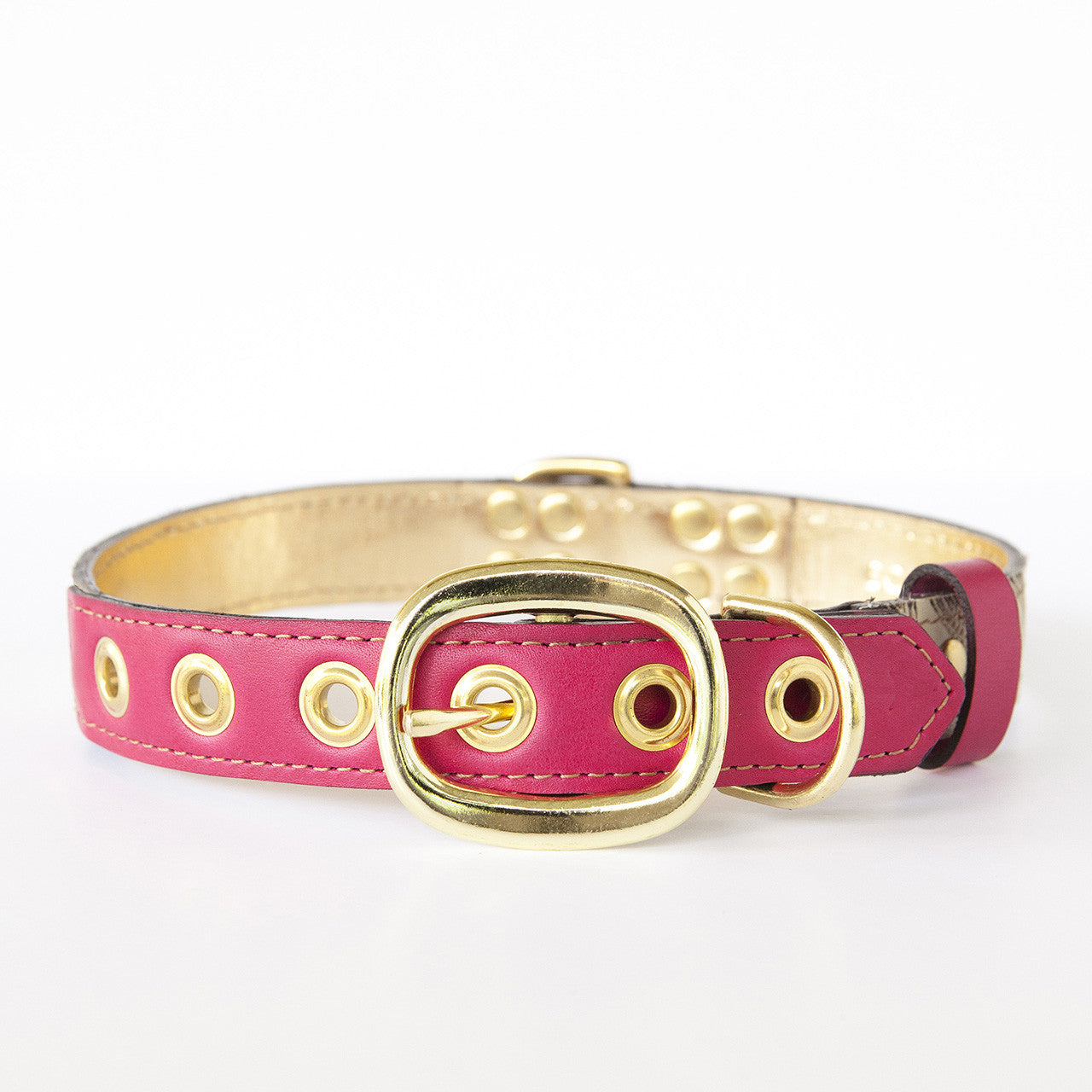 Hot Pink Dog Collar with Ivory Leather + Brown Stitching (back view)
