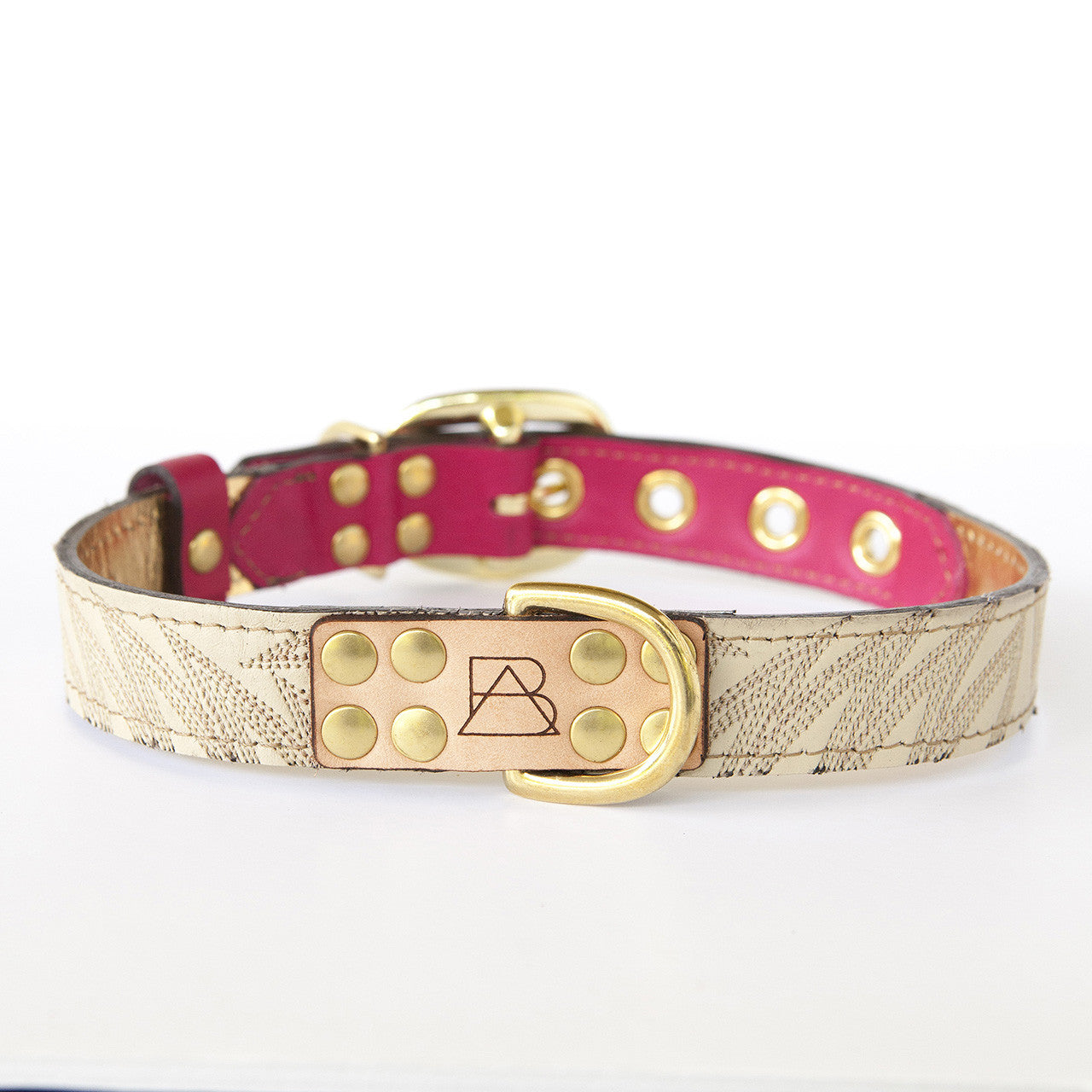 Hot Pink Dog Collar with Ivory Leather + Brown Stitching (front view)