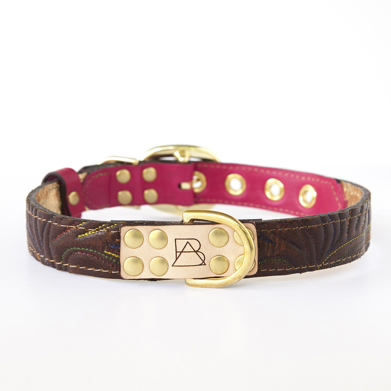 Hot Pink Dog Collar with Dark Brown Leather + Multicolor Stitching (front view)
