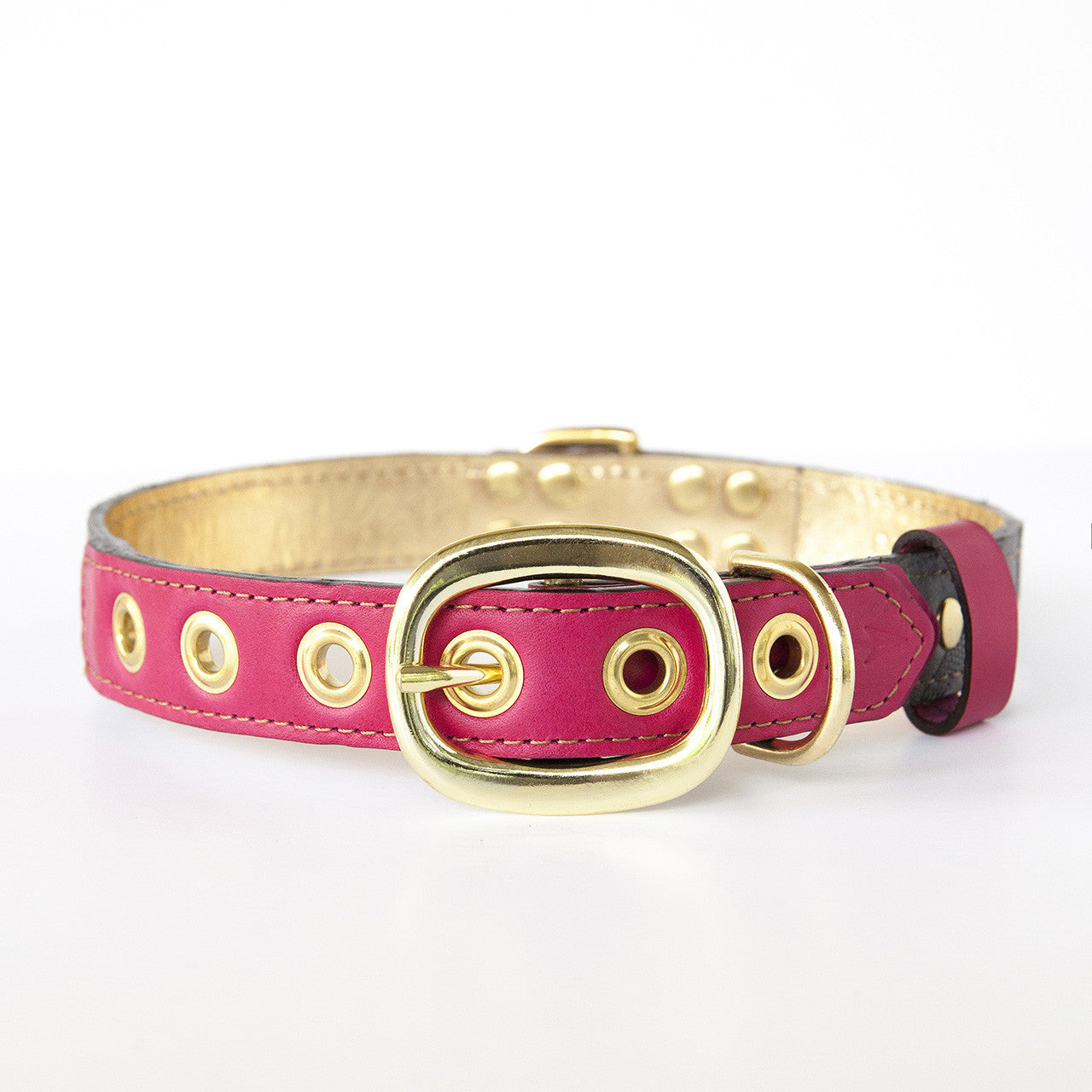Hot Pink Dog Collar with Gray Leather + Navy Stitching (back view)