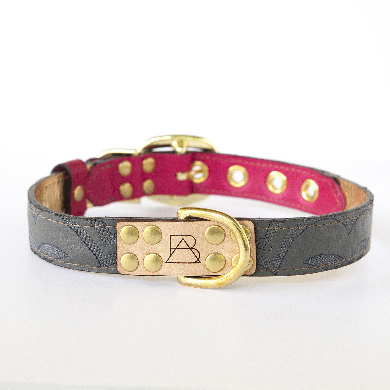 Hot Pink Dog Collar with Gray Leather + Navy Stitching (front view)