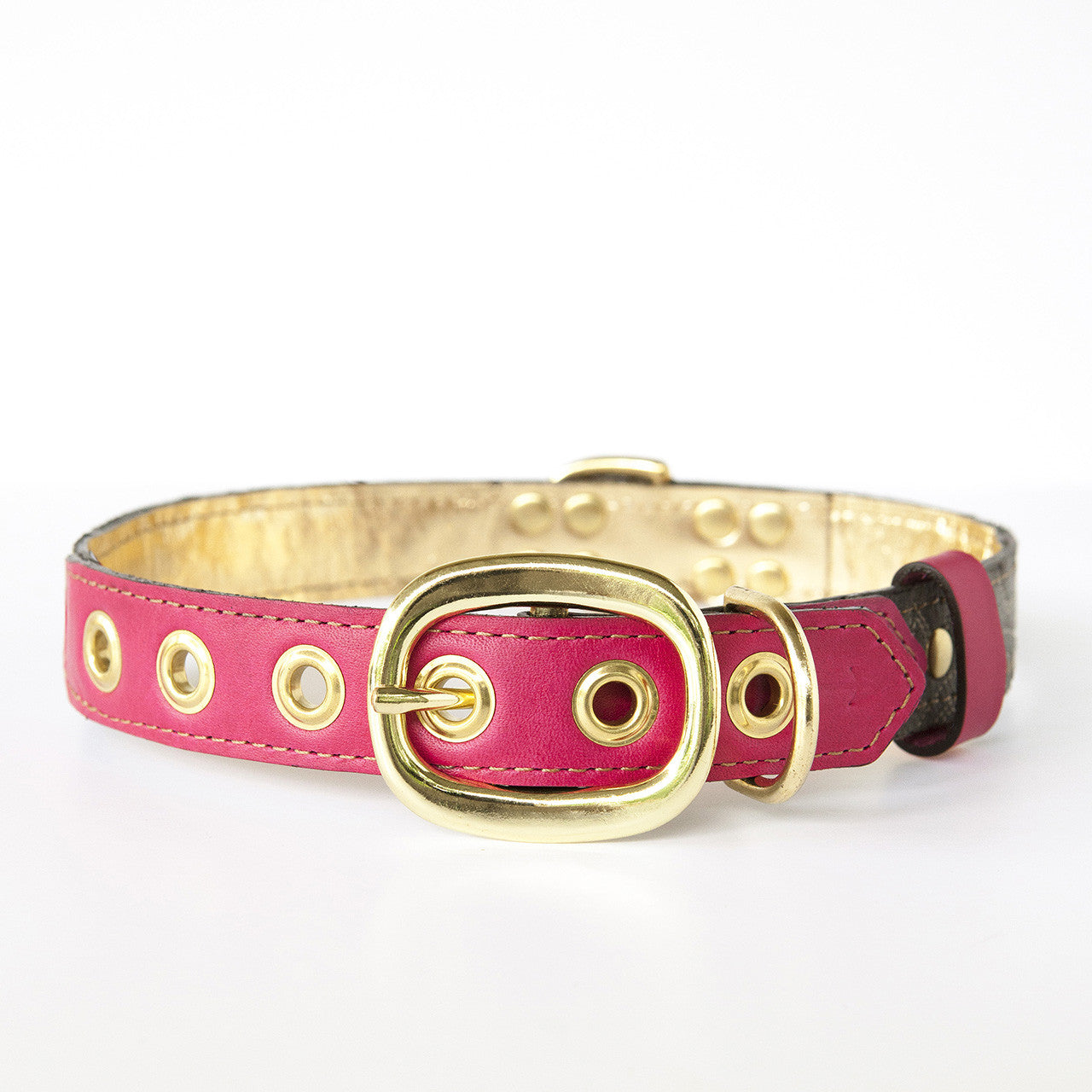 Hot Pink Dog Collar with Distressed Gray Leather + White Stitching (back view)