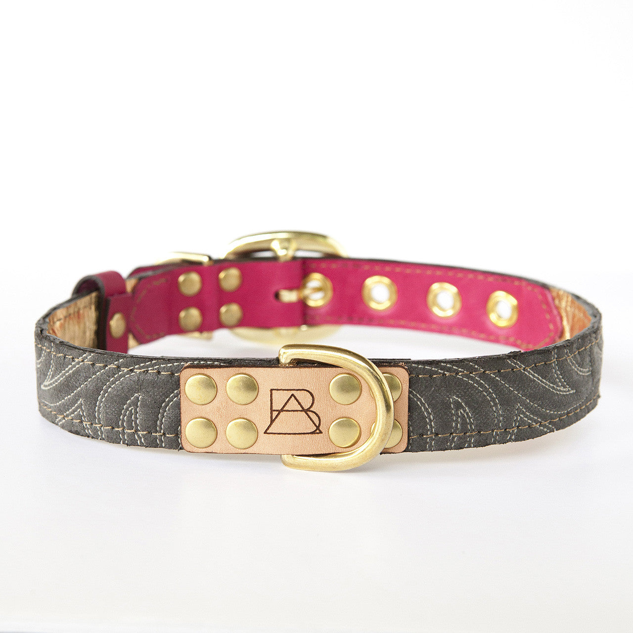 Hot Pink Dog Collar with Distressed Gray Leather + White Stitching (front view)