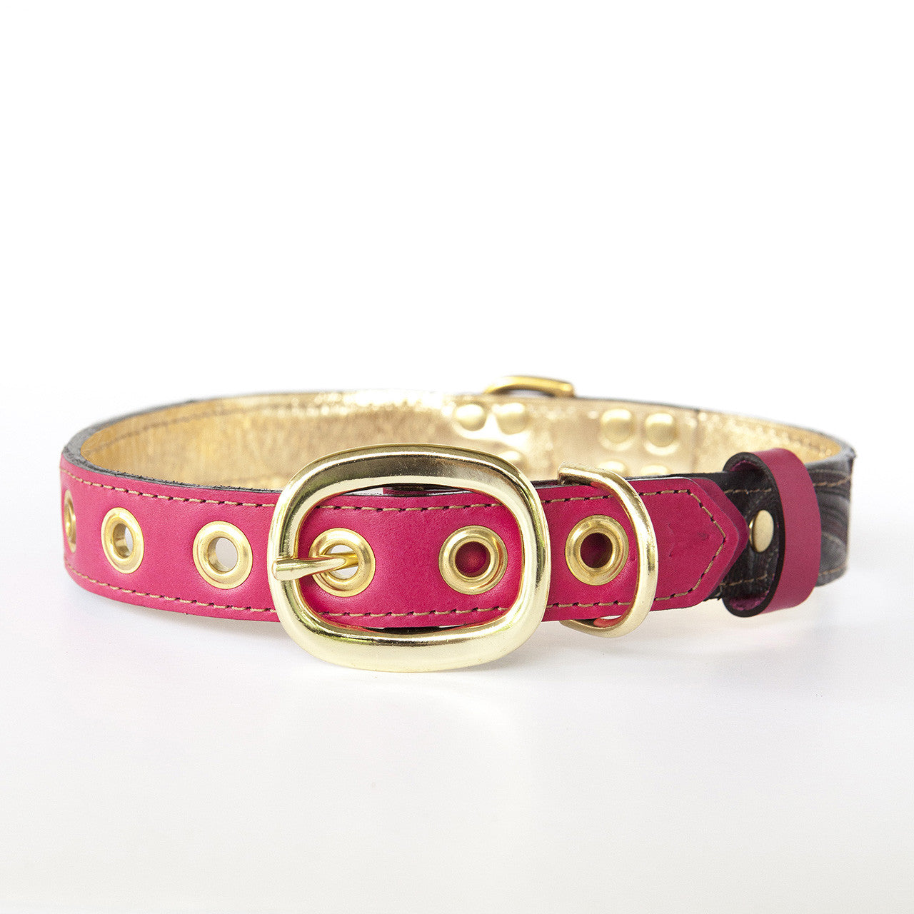 Hot Pink Dog Collar with Chocolate Leather + Chocolate and Tan Stitching (back view)