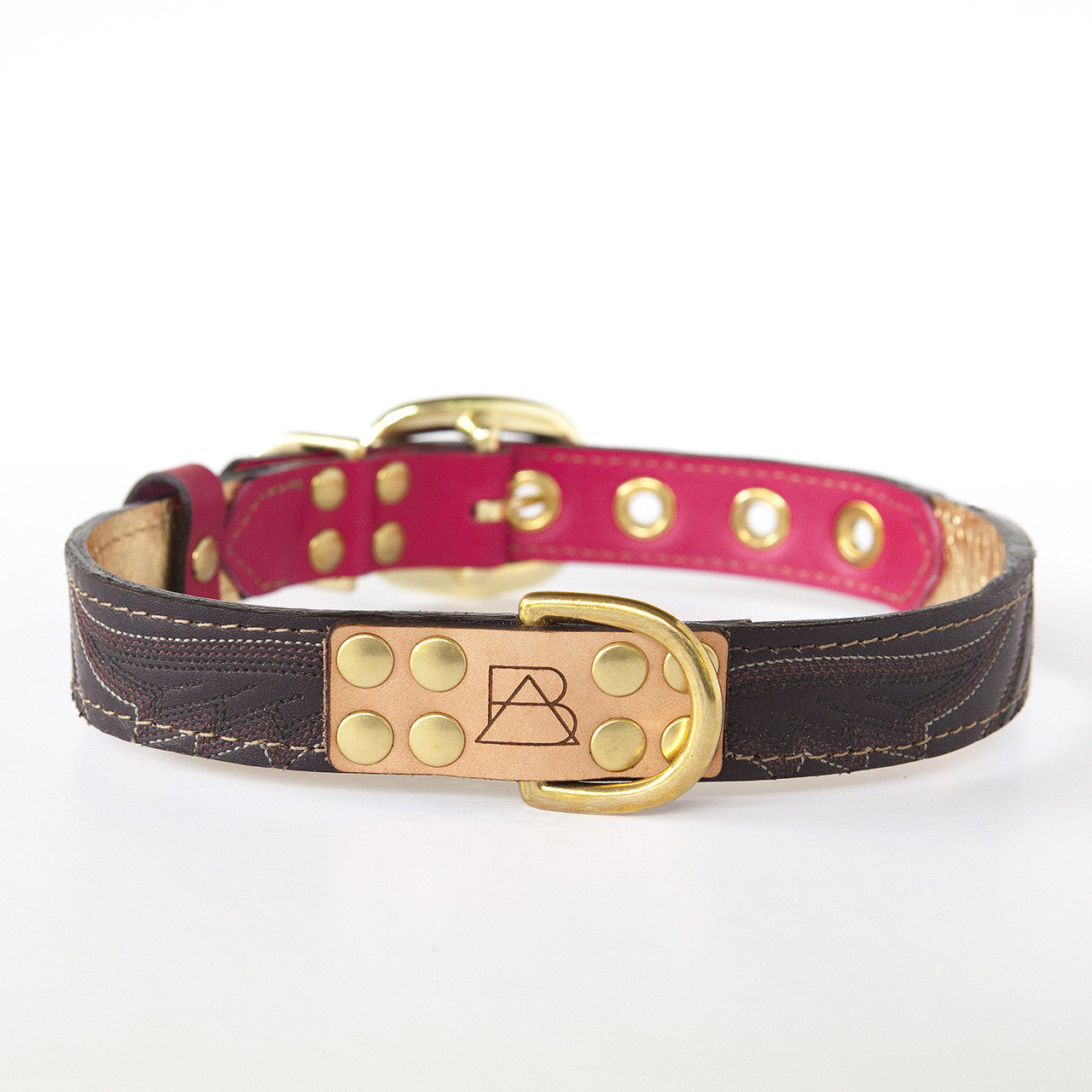 Hot Pink Dog Collar with Chocolate Leather + Chocolate and Tan Stitching (front view)
