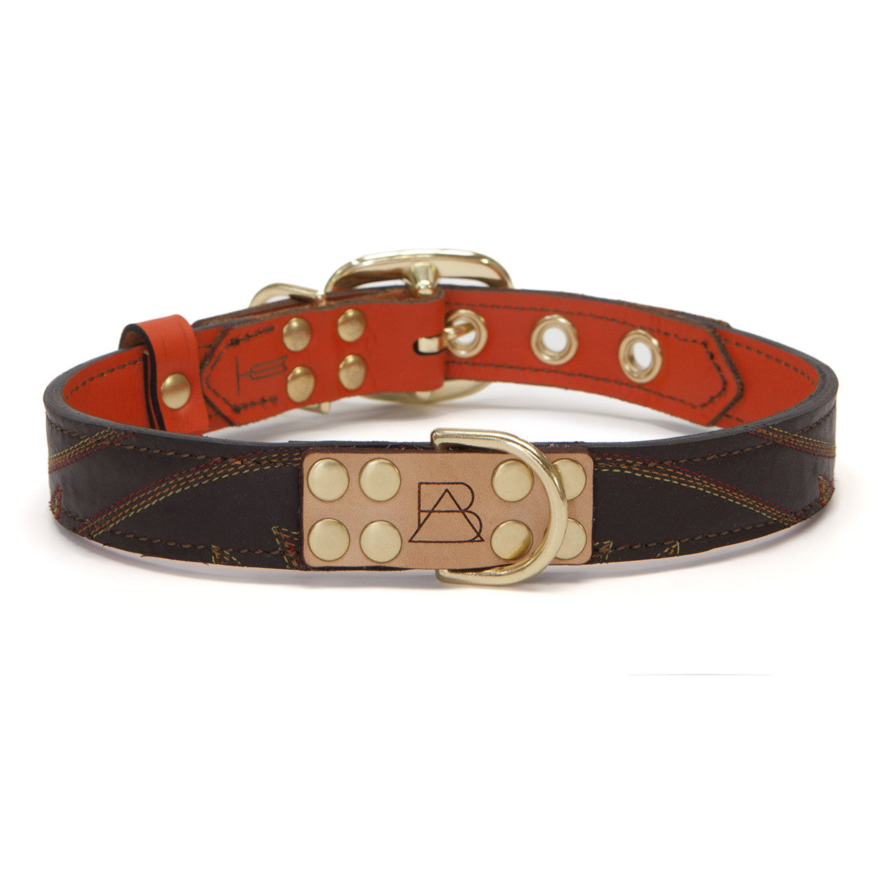 Orange Dog Collar with Medium Brown Leather + Multicolor Stitching (front view)