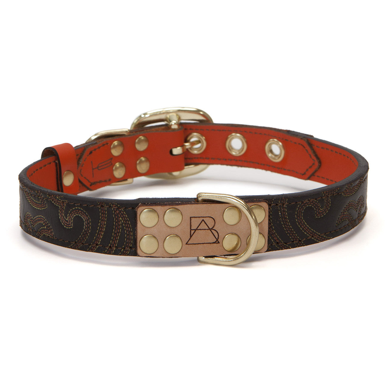 Orange Dog Collar with Dark Brown Leather + Orange Crest Stitching (front view)
