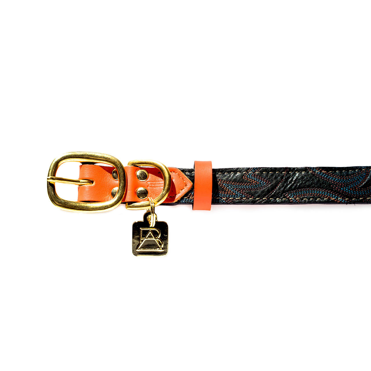 Orange Dog Collar with Dark Green Leather + Multicolor Stitching