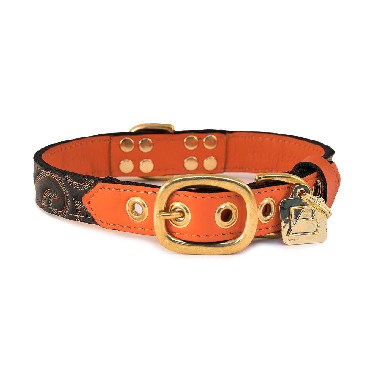 Orange Dog Collar with Dark Chocolate Leather + Orange and Ivory Stitching