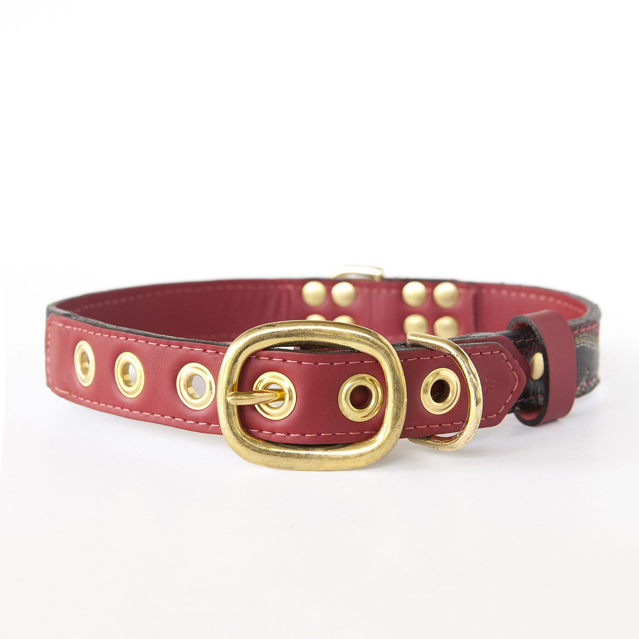 Ruby Red Dog Collar with Black Leather + Multicolored Stitching (back view)