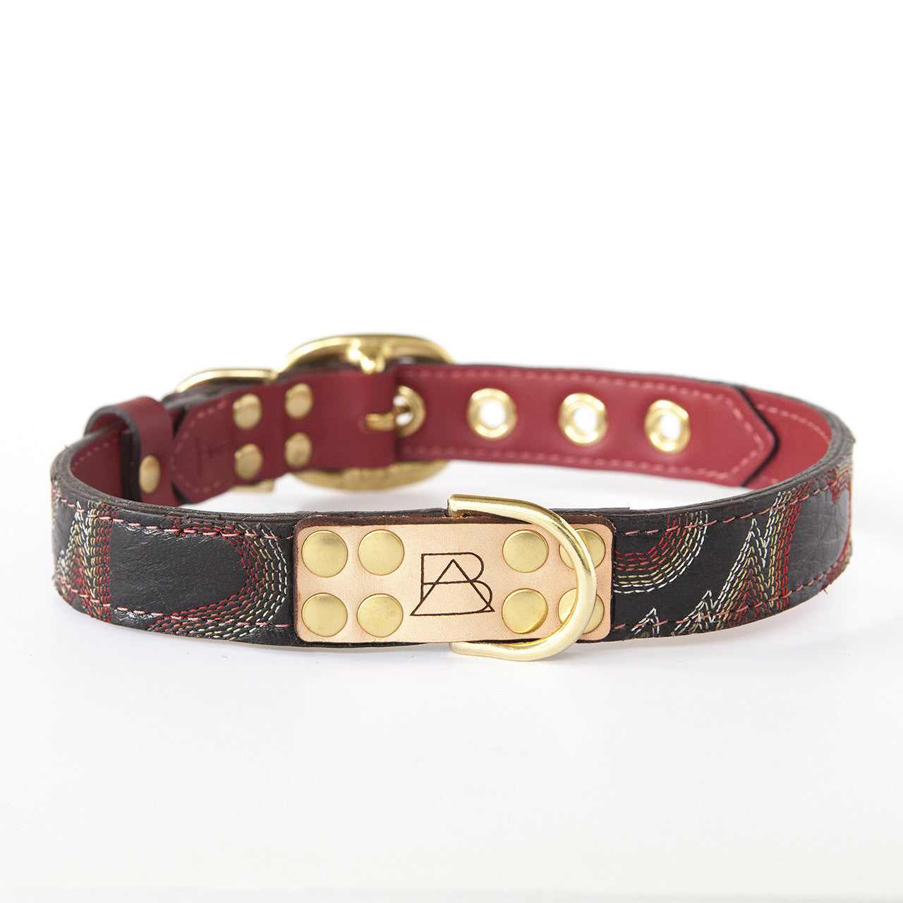 Ruby Red Dog Collar with Black Leather + Multicolored Stitching (front view)
