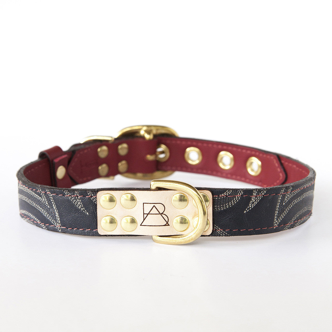Ruby Red Dog Collar with Navy Leather + Ivory and Gray Stitching (front view)