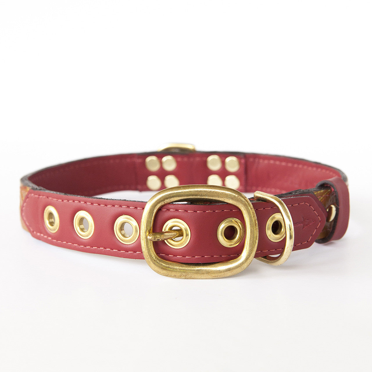 Ruby Red Dog Collar with Brown Leather + Multicolor Stitching (back view)