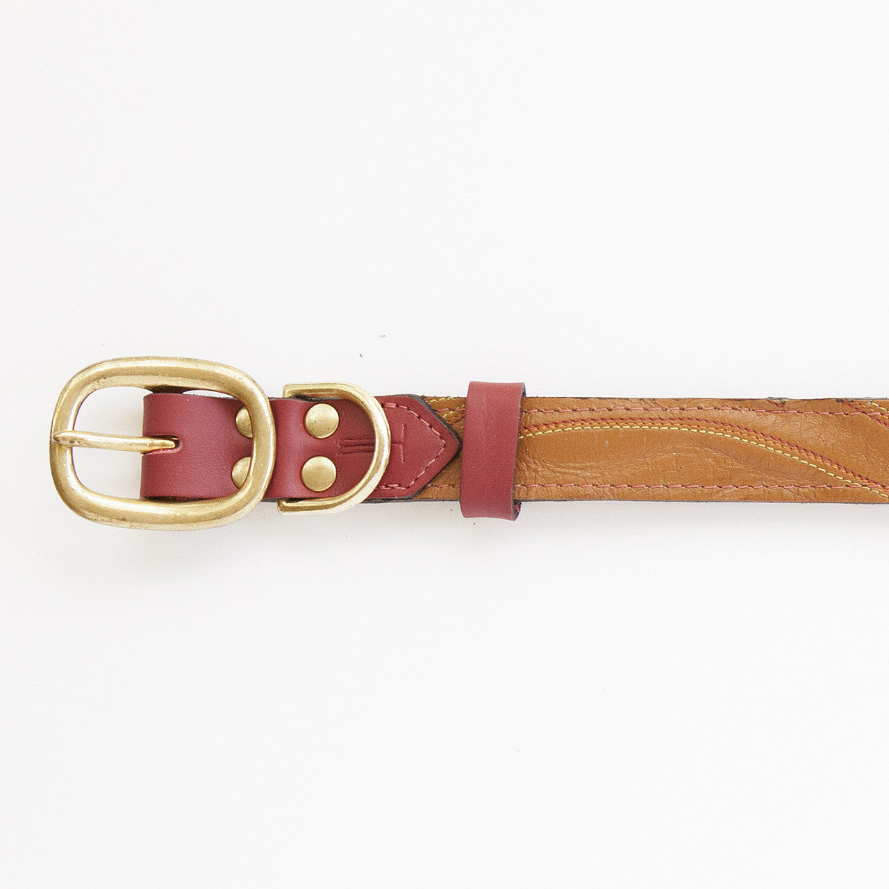 Ruby Red Dog Collar with Brown Leather + Multicolor Stitching (buckle)