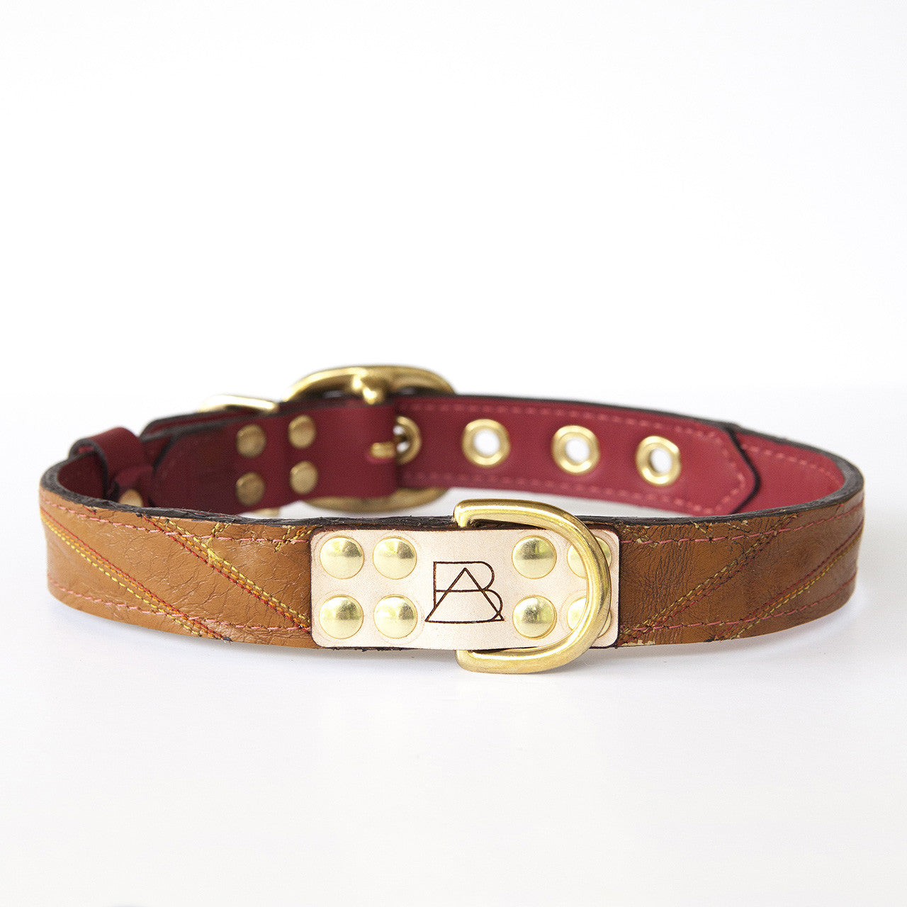 Ruby Red Dog Collar with Brown Leather + Multicolor Stitching (front view)