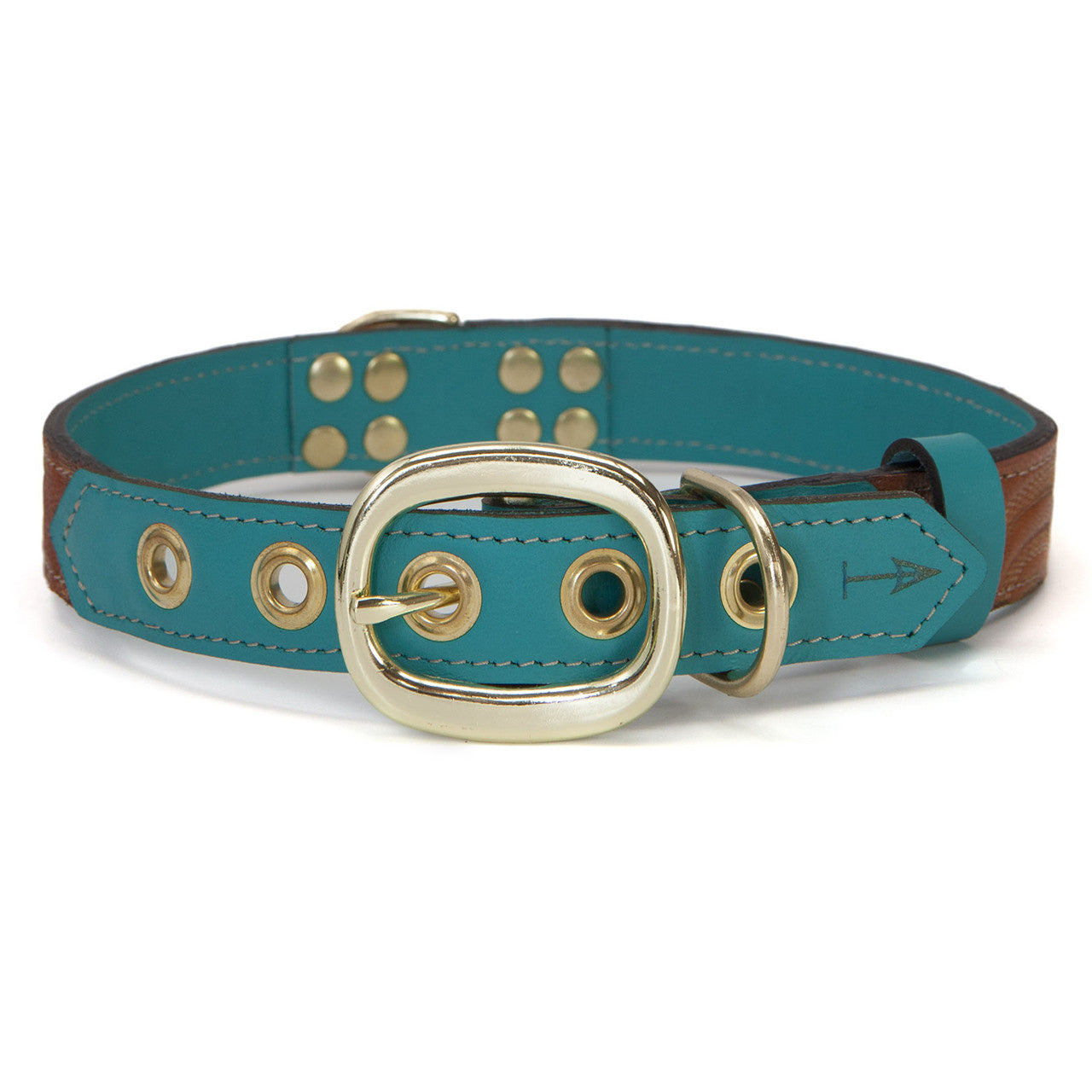 Turquoise Dog Collar with Brown Leather + Tan Stitching (back view)