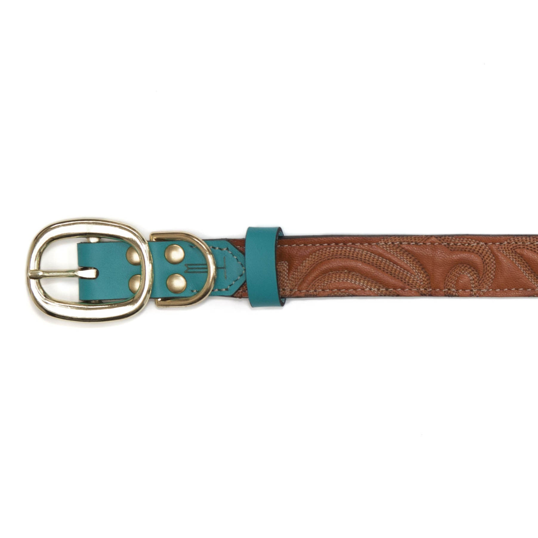 Turquoise Dog Collar with Brown Leather + Tan Stitching (buckle)