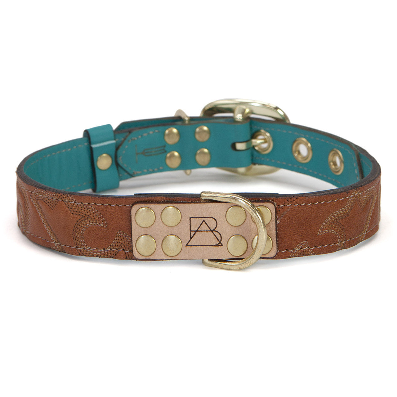 Turquoise Dog Collar with Brown Leather + Tan Stitching (front view)