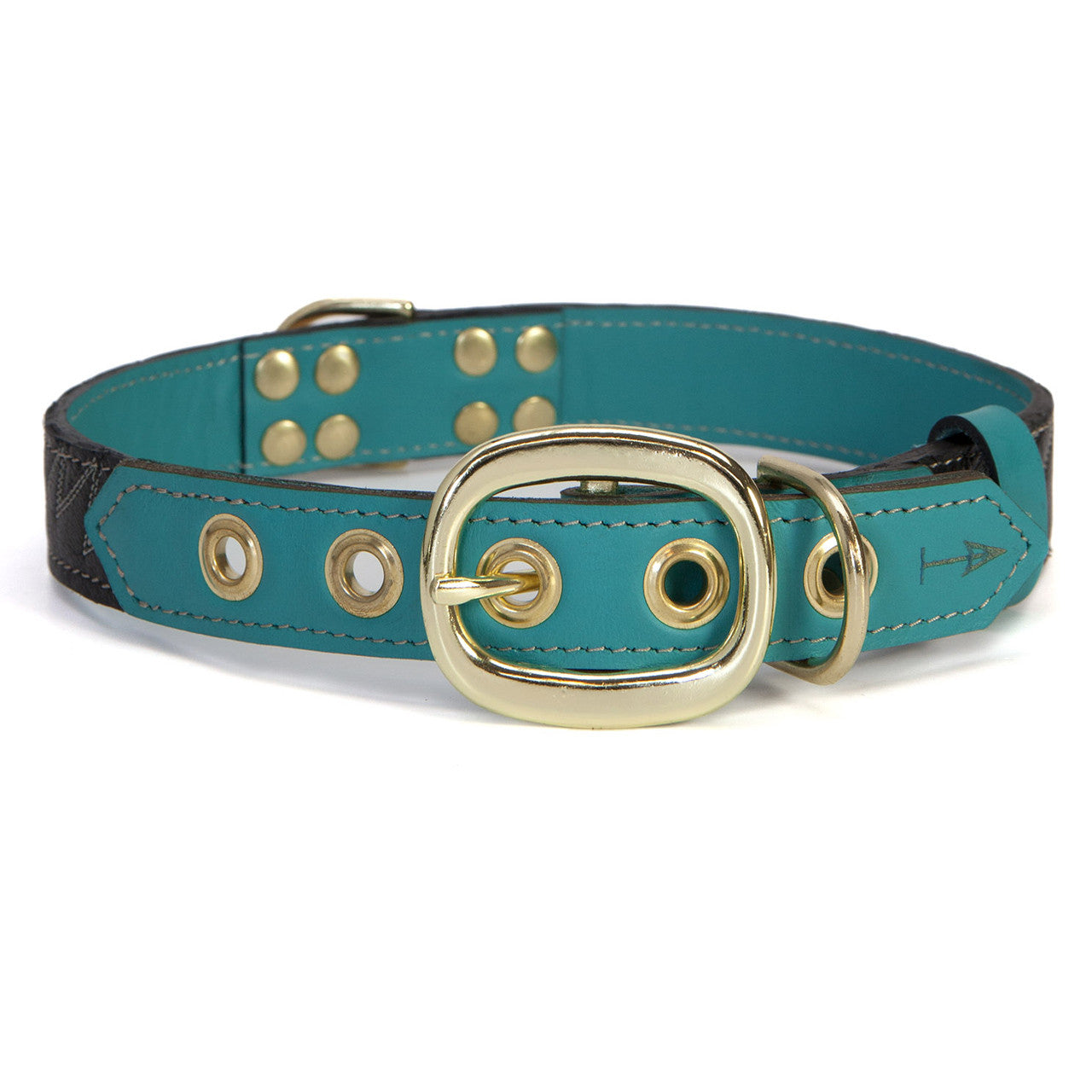 Turquoise Dog Collar with Black Leather + White Spike Stitching (back view)