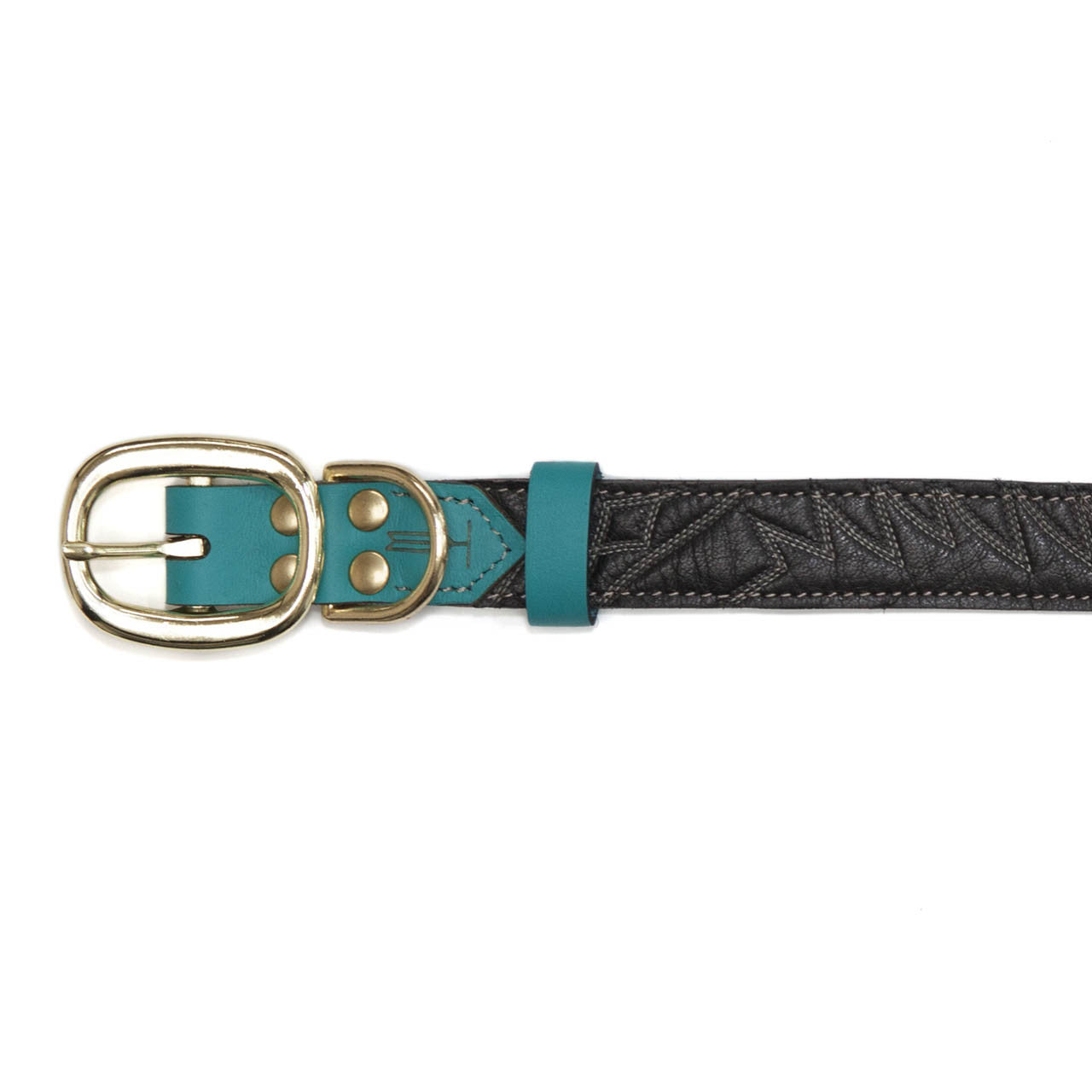 Turquoise Dog Collar with Black Leather + White Spike Stitching (buckle)