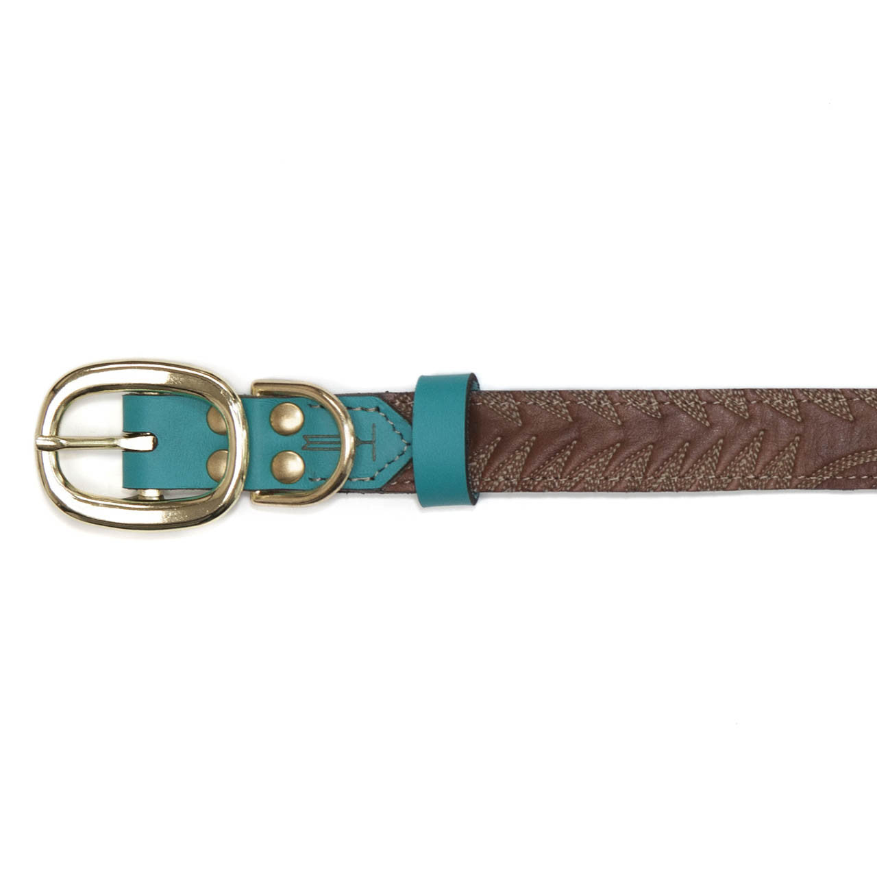 Turquoise Dog Collar with Dark Brown Leather + White Stitching (buckle)