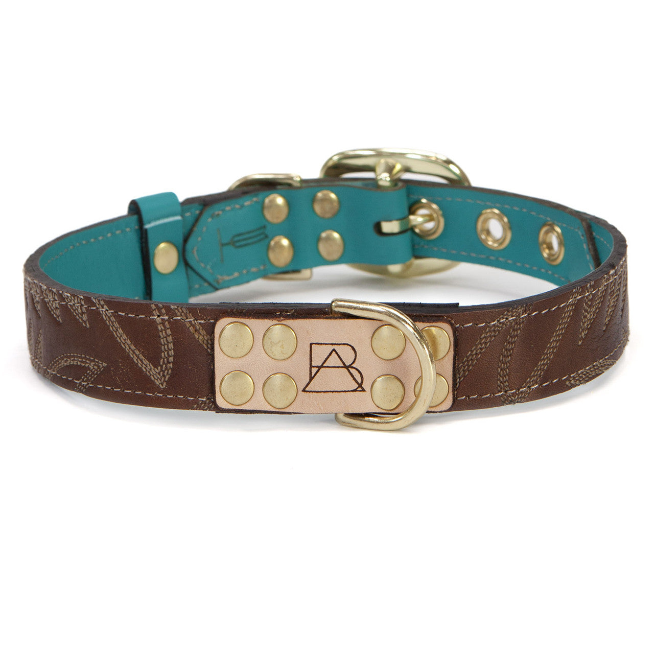 Turquoise Dog Collar with Dark Brown Leather + White Stitching (front view)