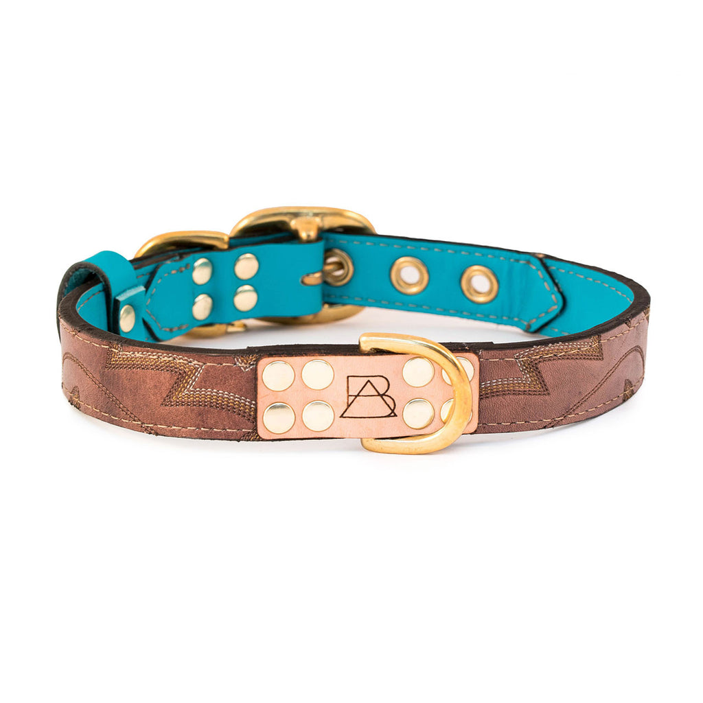 Turquoise Dog Collar with Mahogany Leather + Brown/Yellow/Ivory Stitching
