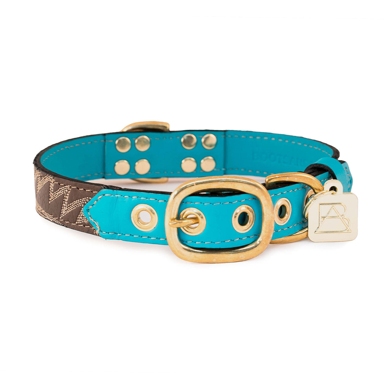 Turquoise Dog Collar with Chocolate Leather + Ivory Stitching