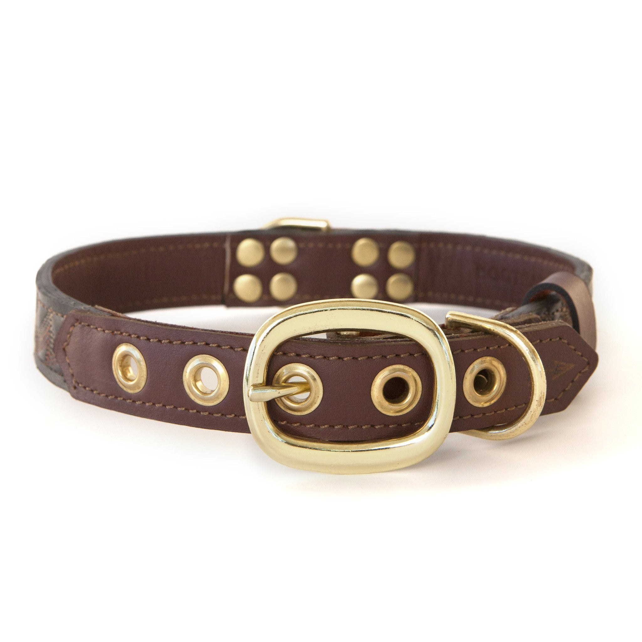 Mahogany Brown Dog Collar with Dark Brown Leather + Tan/Light Rust Stitching (back view)