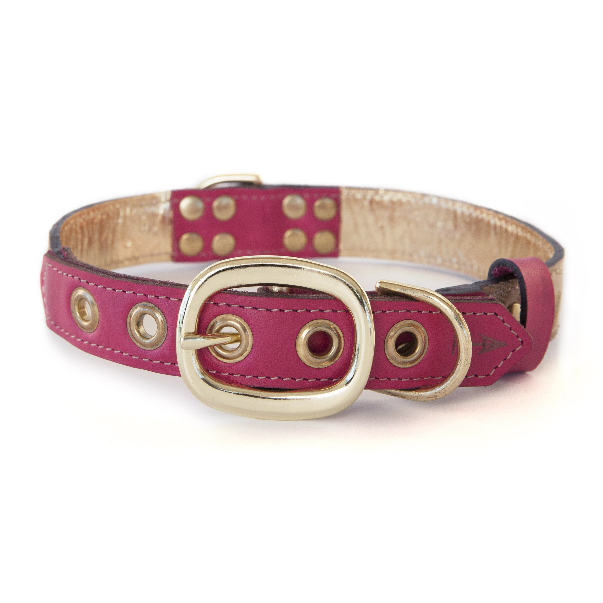Hot Pink Dog Collar with Light Brown Leather + Tan Stitching (back view)
