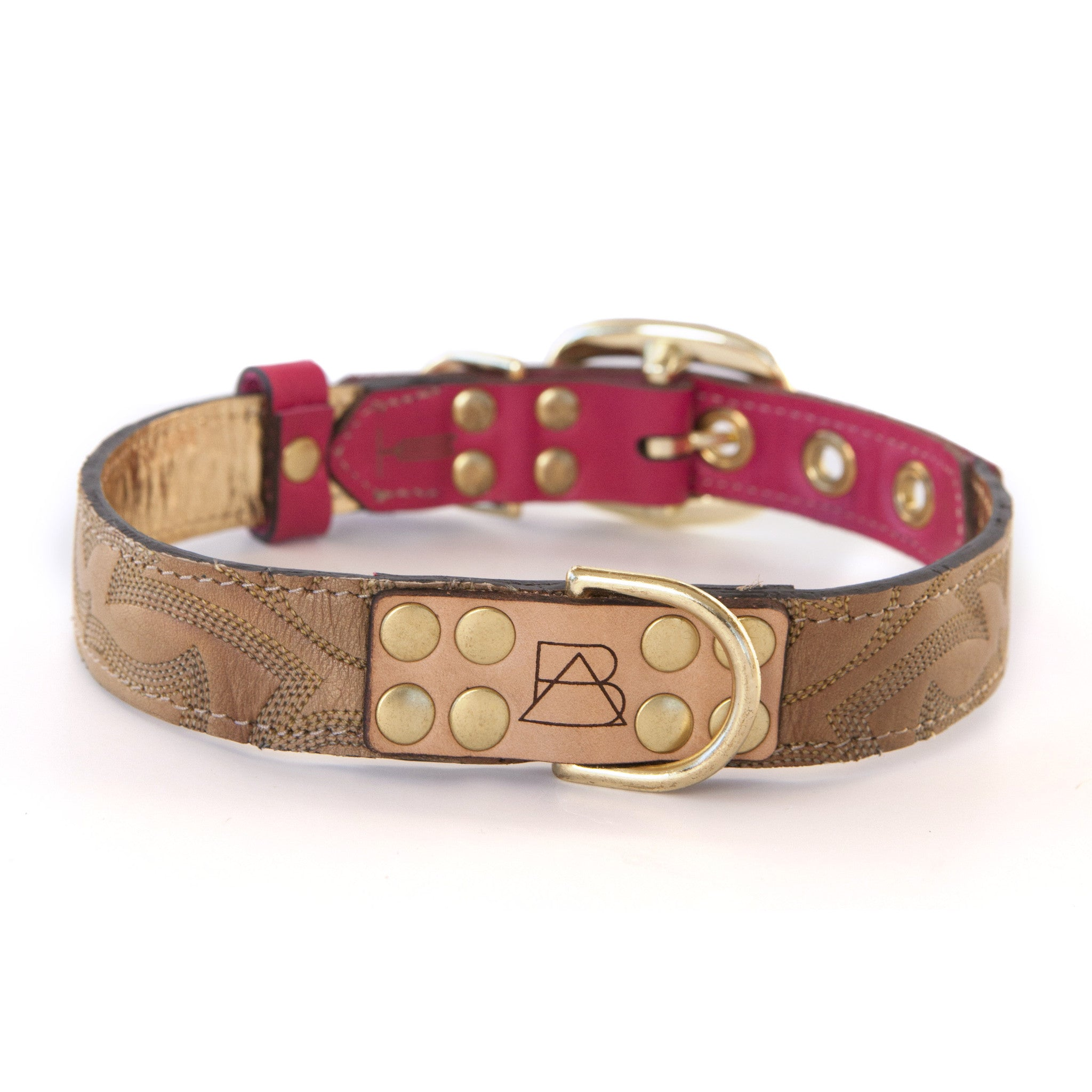 Hot Pink Dog Collar with Light Brown Leather + Tan Stitching (front view)