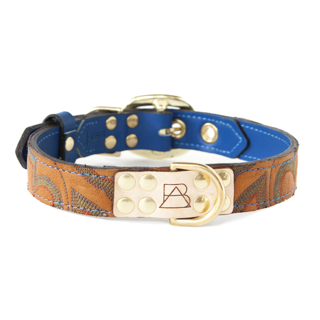 Royal Blue Dog Collar With Orange Leather + Blue/Green/Red Stitching