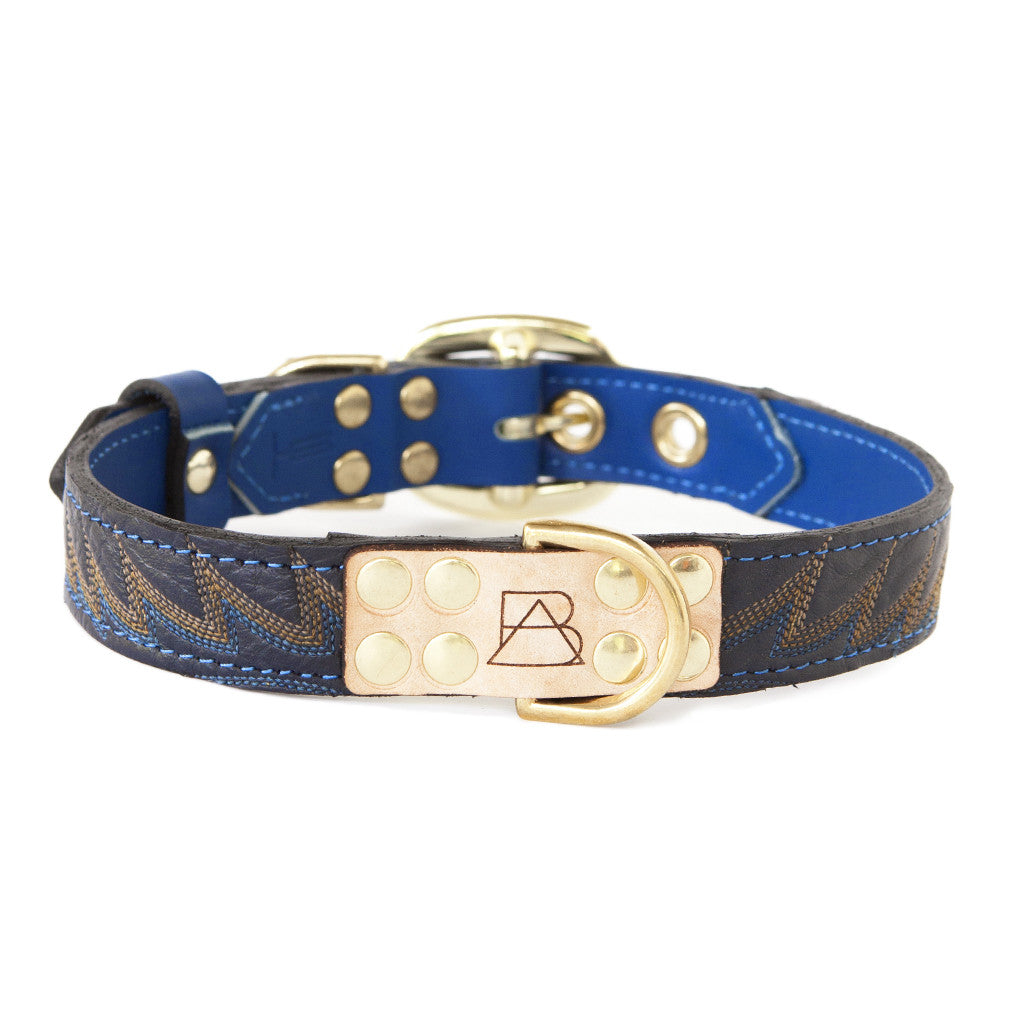 Royal Blue Dog Collar With Navy Leather + Blue/Gold Stitching