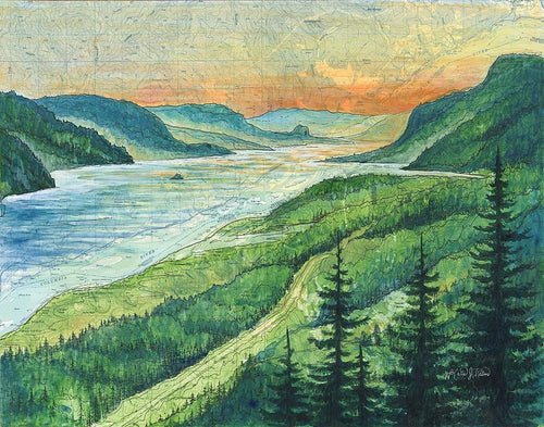 Columbia River Gorge Art Print w/ Mat
