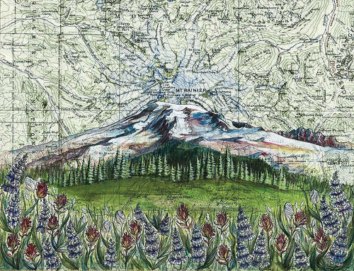Mt. Rainier Wildflowers Art Print w/ Mat