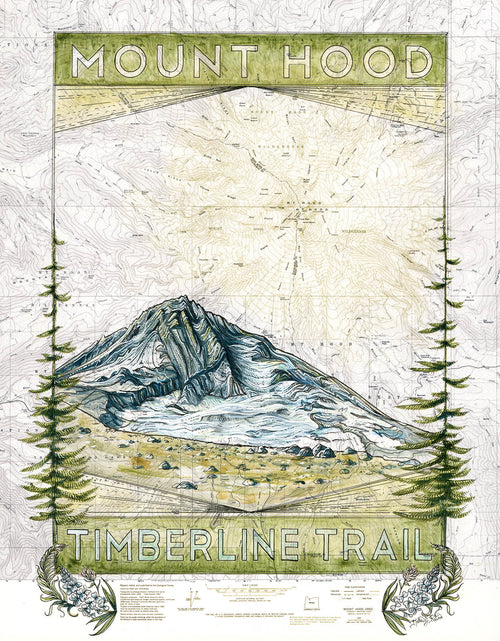 Mt. Hood Timberline Trail Art Print w/ Mat