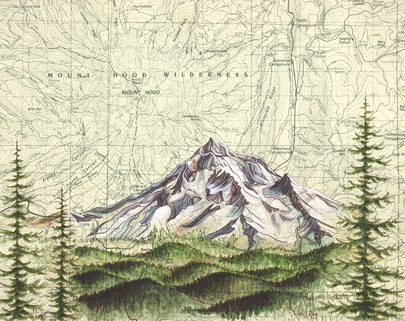 Mt. Hood Wilderness Art Print w/ Mat