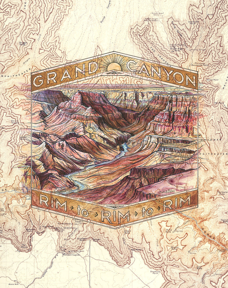 Grand Canyon R2R2R Art Print w/ Mat