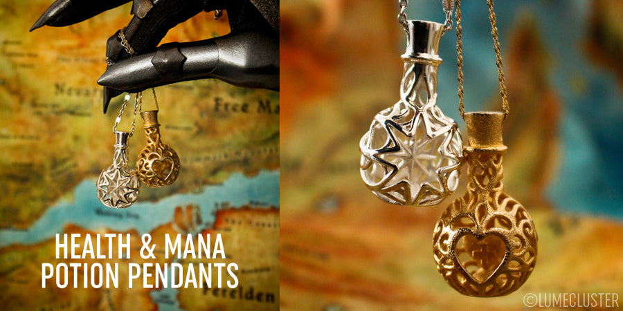 Lumecluster health and mana potion pendants