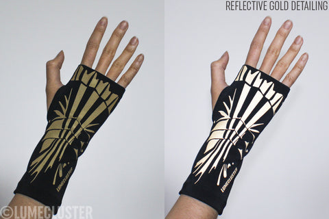 Reflective Gauntlet Fingerless Gloves (Lumecluster X Wing & Weft)