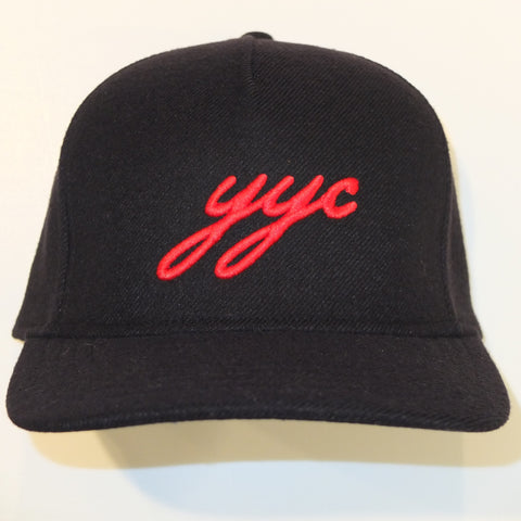 YYC Black Wool Snapback hats