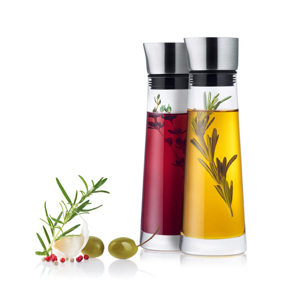 Oil and Vinegar Serving Set with Stainless Steel Lid
