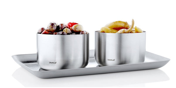 Stainless Steel Tray 13x22 + Snack Bowl - Small (x2) Set