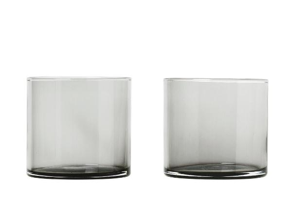MERA Glasses Low Ball - 7 Ounce - Set of 2 - Smoked Glass