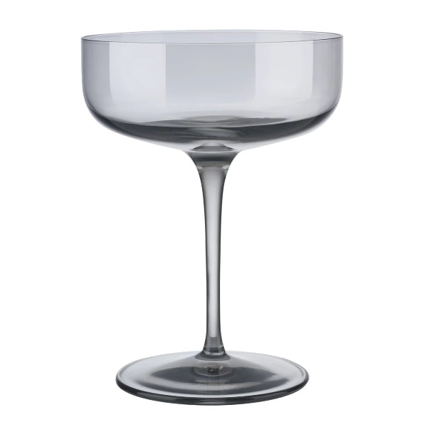 FUUM Champagne Saucer Glasses - 10 Ounce - Set of 4 - Smoke
