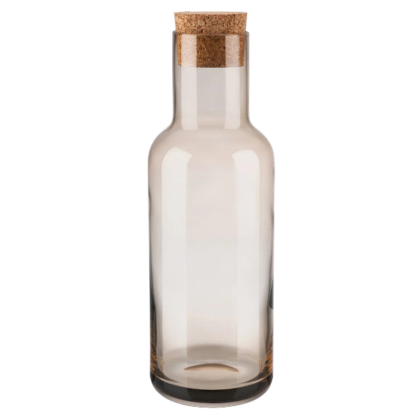 FUUM Water Carafe - 34 Ounce - With Cork Lid - Smoke