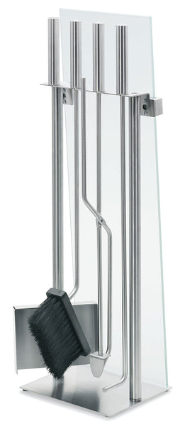 Stainless Fireplace Tool Set w/Glass Front - 5 pc.